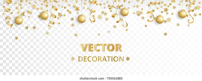 Holiday background. Isolated golden garland border, frame. Hanging baubles, streamers, falling confetti. Great for Christmas, New year cards, birthday and wedding invitations, banners, party posters.