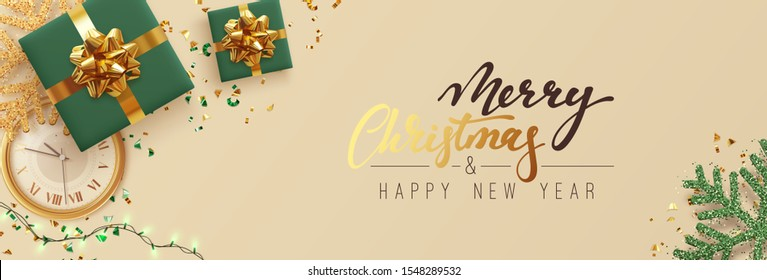 Holiday background Merry Christmas and Happy New Year. Xmas design with realistic festive objects, sparkling lights garland, green gift box, golden snowflake , glitter gold confetti. Horizontal banner
