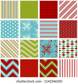 Holiday background patterns in bright red, green and aqua blue. File includes snowflake, stripe, polka dot, gingham, diamond, chevron and pillow ticking prints.