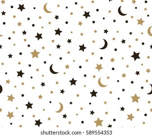 Holiday background, seamless pattern with gold stars and the moon. Vector illustration.