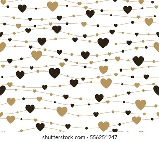 Holiday background, seamless pattern with hearts. Vector illustration.