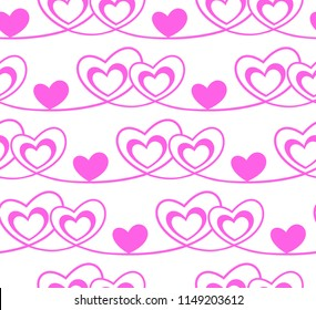 Holiday background, seamless pattern with pink hearts. Vector illustration.