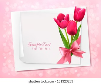 Holiday background with sheet of paper and flowers. Vector illustration.