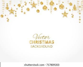 Holiday background with sparkling Christmas glitter ornaments. Golden fiesta border, festive garland with hanging balls and ribbons isolated on white. Great for New year party posters, headers.