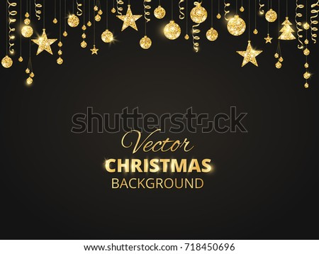 holiday background with sparkling christmas glitter ornaments golden fiesta border on black festive garland