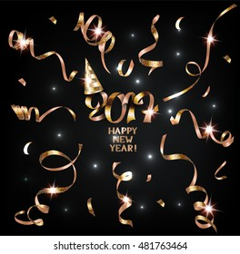 Holiday background with sparkling realistic gold serpentine. Happy new year. Vector illustration