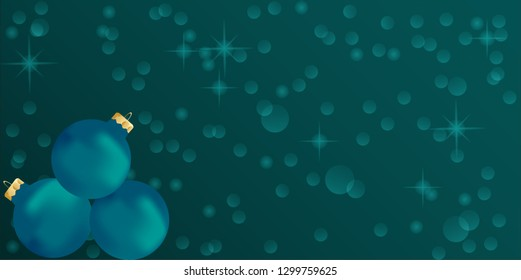 Holiday background with teal ornaments and space for text