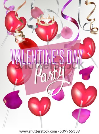 Holiday Background Valentines Day Party Invitation Stock Vector