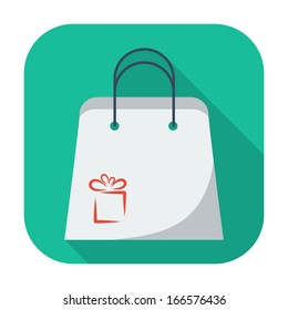 Holiday bag. Single flat icon on the button. Vector illustration.