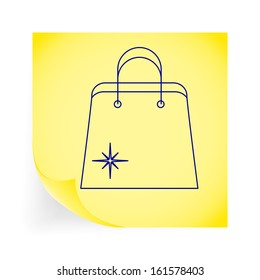 Holiday bag. Single icon on the yellow note paper. Vector illustration.