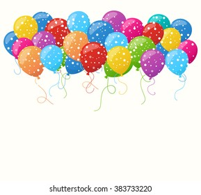 Holiday balloons and confetti background. Greetings or birthday card design. Red, green, yellow, blue, violet and pink air balloons on white background