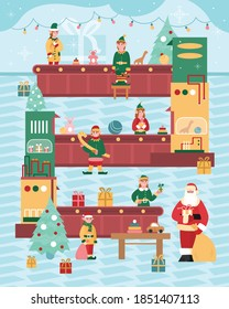 Holiday banner for Christmas with fairy Xmas gifts factory, flat cartoon vector illustration. Background with cute elves characters helping Santa with presents.