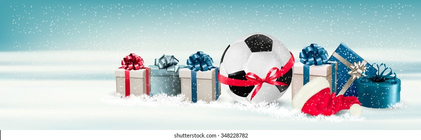 Holiday Banner with a Gift Boxes and Soccer Ball with Ribbon. Vector