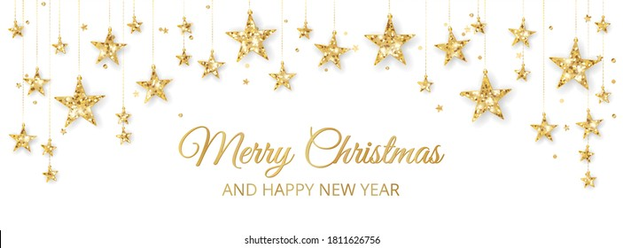 Holiday banner with golden decoration, glitter border. Festive vector background isolated on white. Garland with stars. For Christmas and New Year banners, headers.