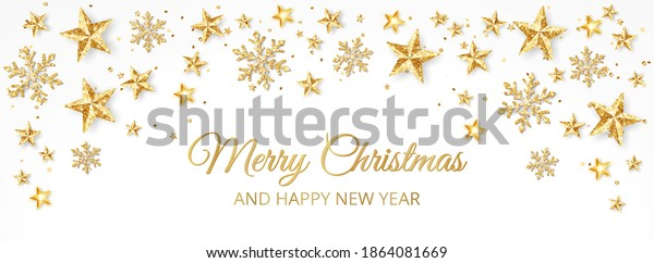 Holiday banner with golden decoration. Stars and snowflakes. Christmas glitter frame. Festive vector background on white. For Christmas and New Year greeting cards, headers, party posters.