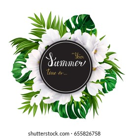 Holiday banner with green tropical palm, monstera leaves and magnolia blooming flowers on the white background. White and gold texture lettering on the summer poster.