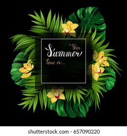 Holiday banner with green tropical palm, monstera leaves and yellow Orchids blooming flowers on the black background. White and gold texture lettering on the summer poster.