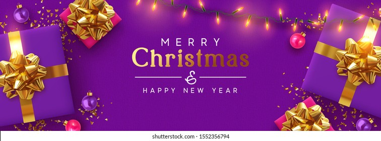 Holiday banner Merry Christmas and Happy New Year. Xmas design with realistic festive objects, purple gift box, lilac ball, light lamps garland, glitter gold confetti. Horizontal poster, flat top view