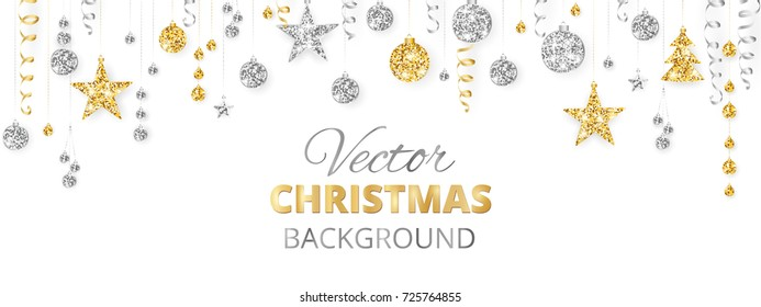 Holiday banner with sparkling Christmas glitter ornaments. Gold and silver fiesta border, garland with hanging balls and ribbons isolated on white. Great for New year party posters, headers.