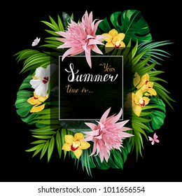 Holiday banner with tropical palm, monstera leaves, Hibiscuses, Aechmea and Orchids blooming flowers on the black background. White and gold texture lettering on the summer poster.