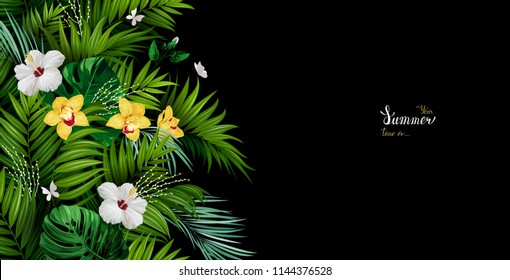 Holiday banner with tropical palm, monstera leaves, Hibiscuses, and Orchids blooming flowers on the black background. White and gold texture lettering on the summer poster.