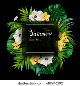 Holiday banner with tropical palm, monstera leaves, Hibiscuses and Orchids blooming flowers on the black background. White and gold texture lettering on the summer poster.