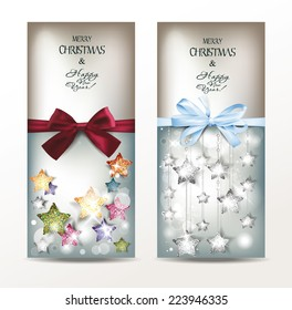Holiday banners with textured shiny stars and silk ribbon
