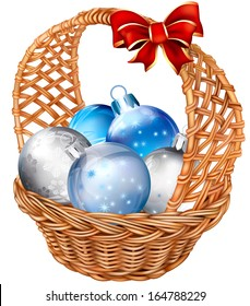 holiday basket with christmas decorations balls. Vector illustration