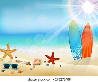 Holiday in beach on the summer with surfboard and starfish and sunglasses. vector