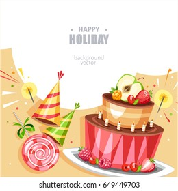 holiday birthday background with cake lollipop and hat