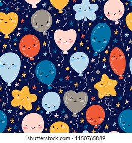 Holiday or Birthday Seamless pattern with doodle Cute Balloons and Stars. Vector Festive Background for kids with Kawaii Balloons. Cartoon Balloon with Funny Face for Baby Shower design.