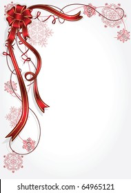 Holiday bow and ribbon with snowflakes, illustration