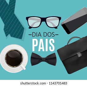 "Holiday in Brazil Fathers Day. Portuguese Brazilian Saying ""Happy Fathers Day"". Dia dos Pais. Vector Illustration EPS10"