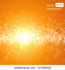 Holiday bright background with stars and light