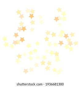 Holiday Bright Modern Night Background. Party Sky Seamless Vector. Orange Pastel Gold Shiny White Yellow Golden Christmas Stars Surface Illustration. Simple Magic Modern Design Backdrop.