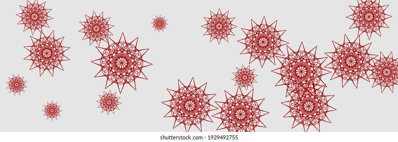 Holiday Bright Santa Chaotic Snow Pattern. Red Silver New Year White Print Sky Background. Stars Ornamental Horizontal Bright Wallpaper. Christmas Snowflakes Grey Winter Mandala Background.