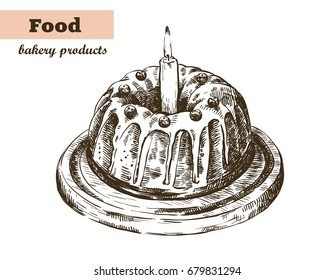 Holiday cake with glaze and berries. homemade baking. bakery products. vector sketch on white
