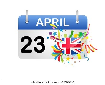 Holiday Calendar England UK National St George Day Vector