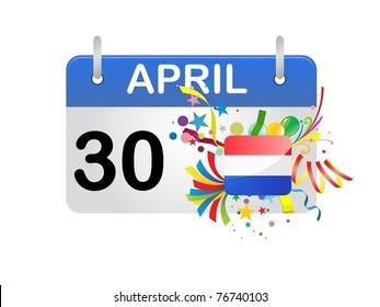 Holiday Calendar Netherlands Queensday Vector