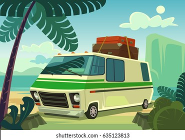 Holiday car. Vector flat cartoon illustration
