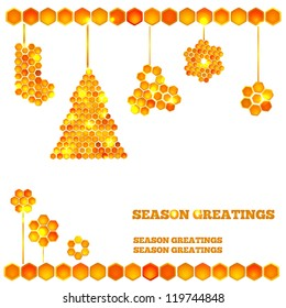 Holiday card with beautiful honey icons - light christmas tree and balls