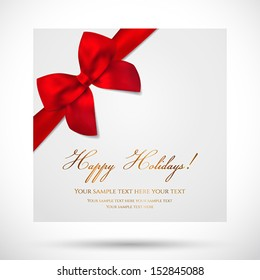 Holiday card, Christmas card, Birthday card, Gift card (greeting card) template with big lush red bow (ribbons, present). Holiday (celebration) background design for invitation, banner. Vector