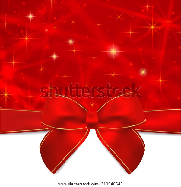 Holiday card, Christmas card, Birthday card, Gift card (greeting card) template with Red bow, ribbon (present), sparkling, twinkling stars. Celebration background design for invitation, New Year