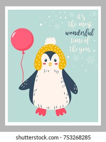 Holiday card with cute penguin and balloon