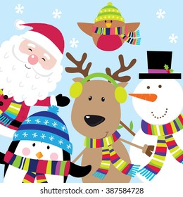 Holiday Card with Cute Santa and Friends