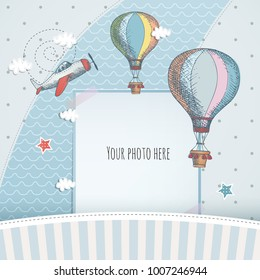 Holiday card design with ballloon and plane. Baby shower. Paper, scrapbook.