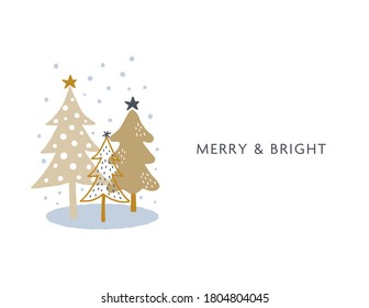 Holiday card design with hand drawn trees. Clean and simple. whimsical doodle style. Can be used for poster, banner, wall decor, flyer, etc.
