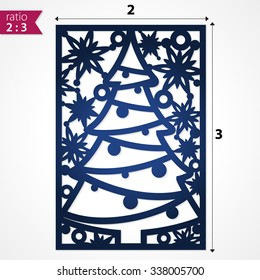 Holiday card die cut xmas pattern. Cutout silhouette panel. Fretwork christmas tree. Lazer cut pattern background. Die cut card vector. Vector Christmas paper cutting ornamental panel. Die cut card.