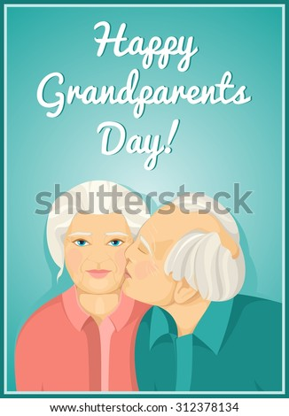Holiday Card Grandparents Day Married Couple Stock Vector Royalty