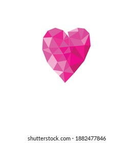 Holiday card with pink geometric heart isolated on white background for Valentine's Day. Valentine card design with heart